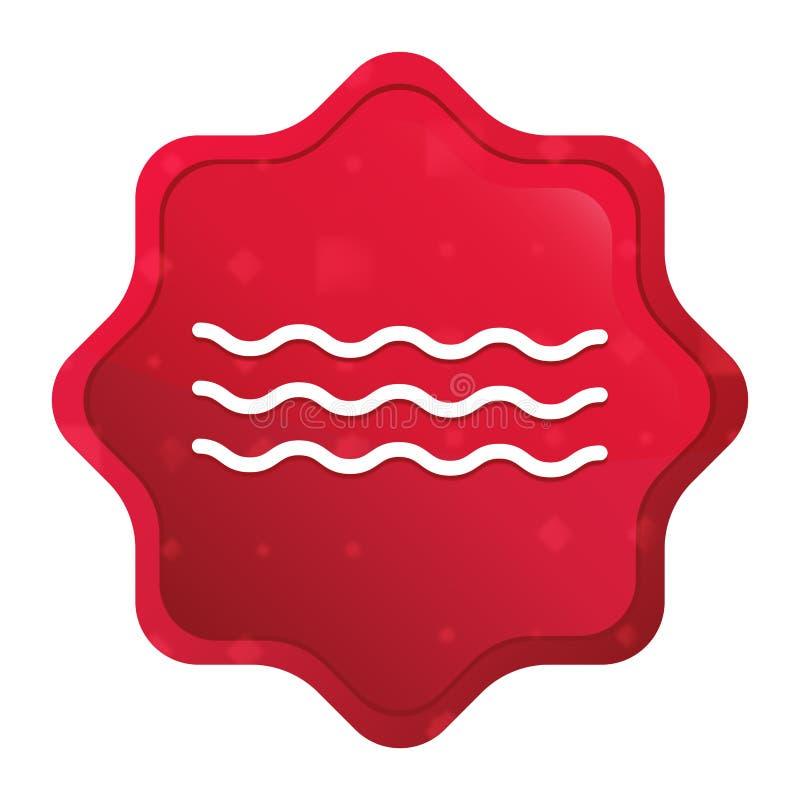 Den dimmiga havsvågsymbolen steg den röda starburstklistermärkeknappen stock illustrationer