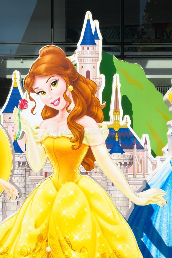 Den Disney prinsessan Belle från skönhet och det stansade fäpapperet ställde in för garnering för nytt år 2016 royaltyfri bild