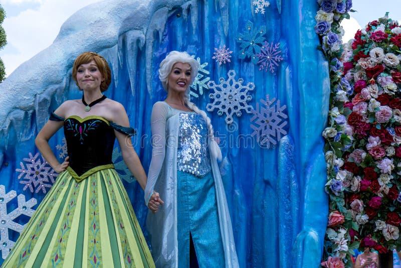 Den Disney världen Orlando Florida Magic Kingdom ståtar djupfryst royaltyfria foton