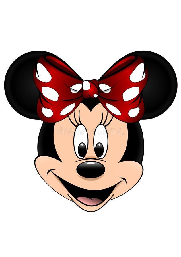 Den Disney vektorillustrationen av Minnie Mouse isolerade på vit bakgrund