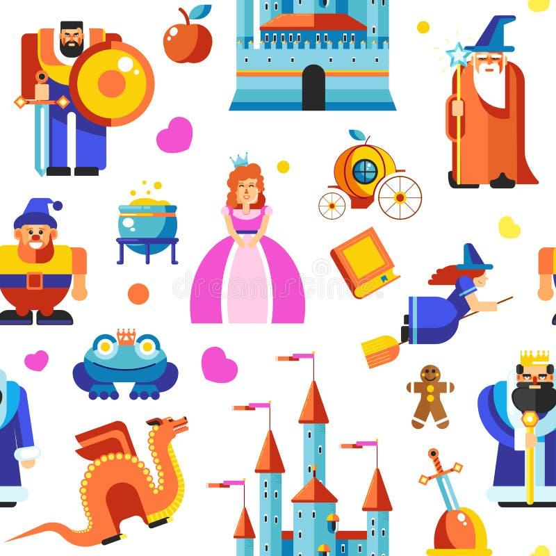 Den Disneyland prinsessan och trollkarlar, rockerar den sömlösa modellvektorn stock illustrationer
