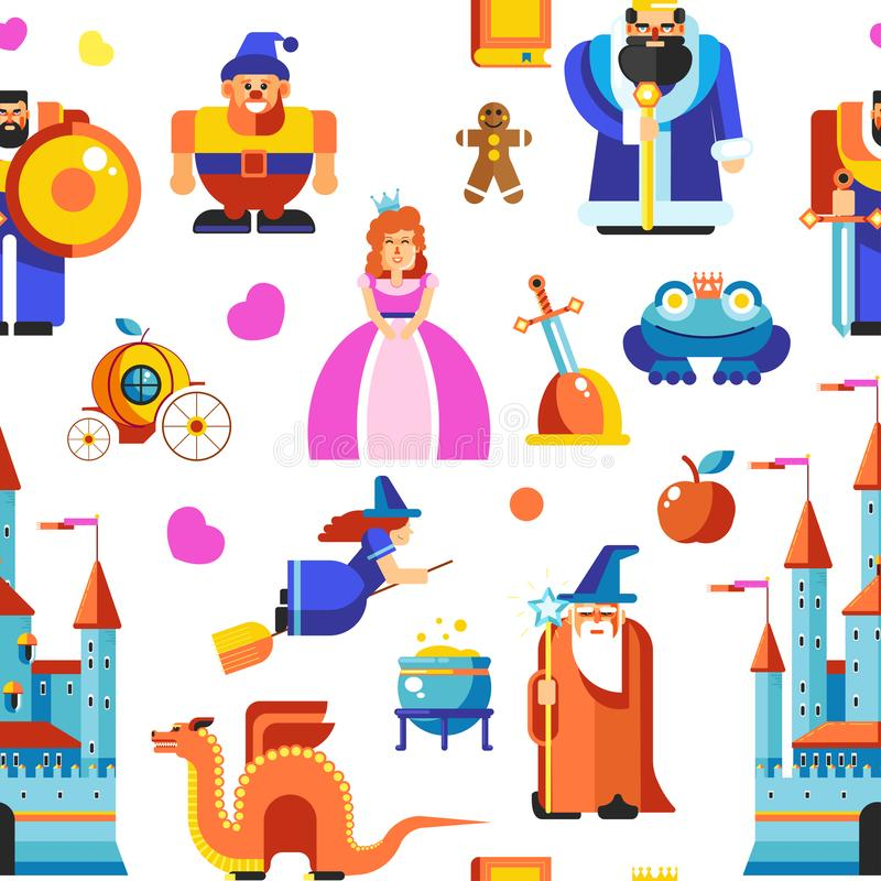 Den Disneyland prinsessan och trollkarlar, rockerar den sömlösa modellvektorn royaltyfri illustrationer