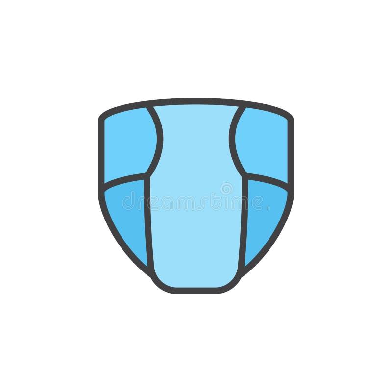 Den disponibla nappyen, blöja fyllde översiktssymbolen, linjen vektortecknet, linjär färgrik pictogram vektor illustrationer