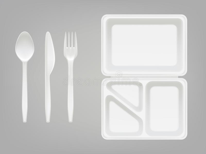 Den disponibla plast- lunchbox- och bestickvektorillustrationen av plattan, skeden, kniven eller gaffeln isolerade realistisk 3D stock illustrationer