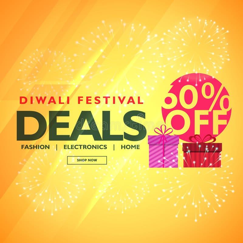 Den Diwali festivalen handlar och erbjuder med gåvaasken stock illustrationer