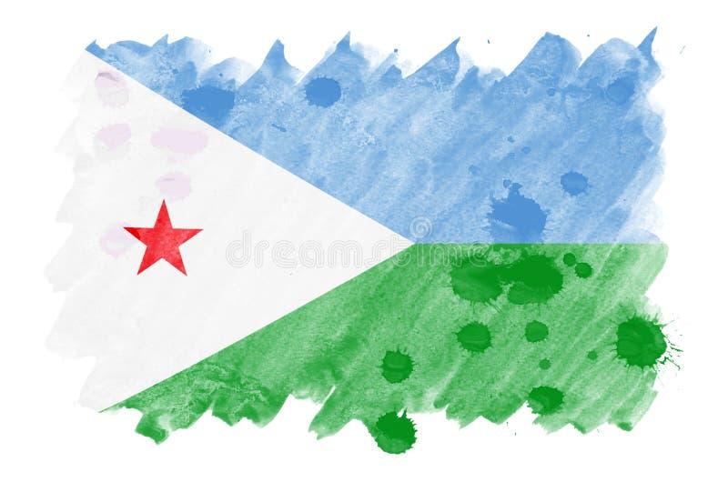 Den Djibouti flaggan visas i vätskevattenfärgstil som isoleras på vit bakgrund royaltyfri illustrationer