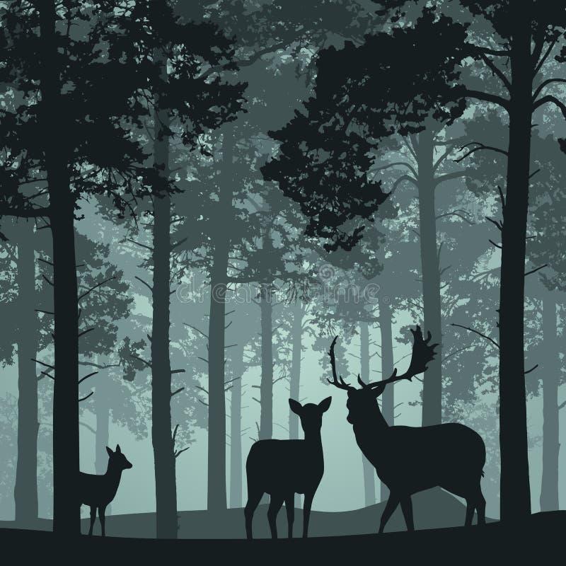 Den djupa skogen med hjortar, doe och lismar stock illustrationer