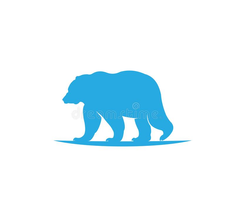 den djura björnen parkerar på design för logo för landvektorillustration stock illustrationer