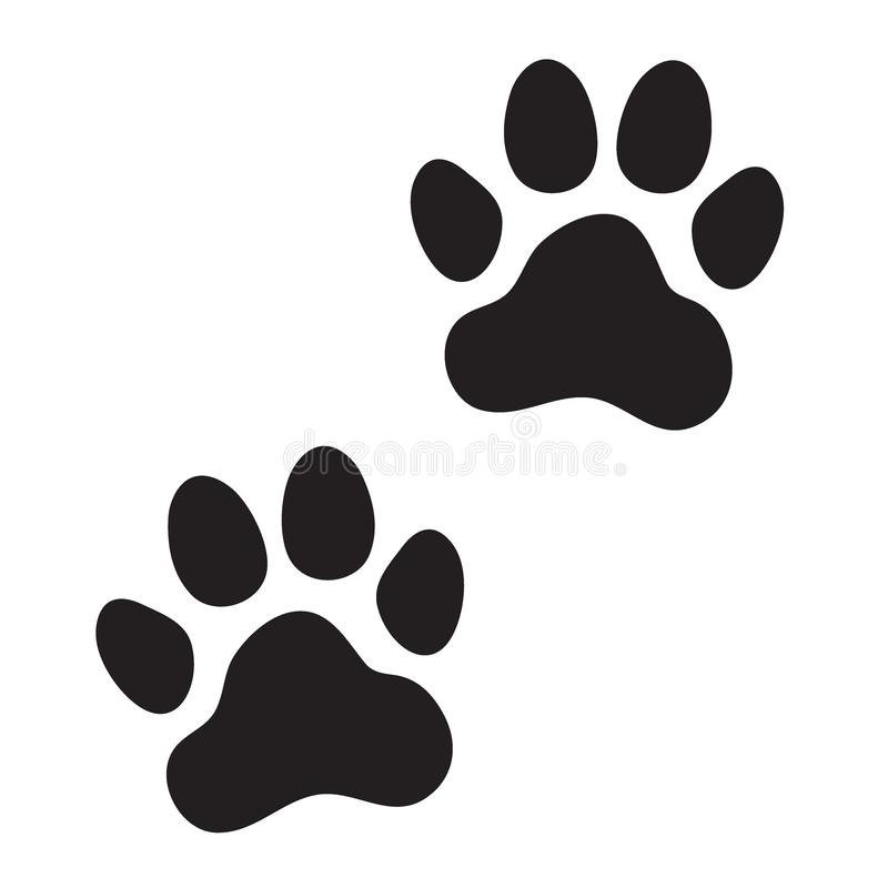 Den djura hunden, katt tafsar tryck vektor illustrationer