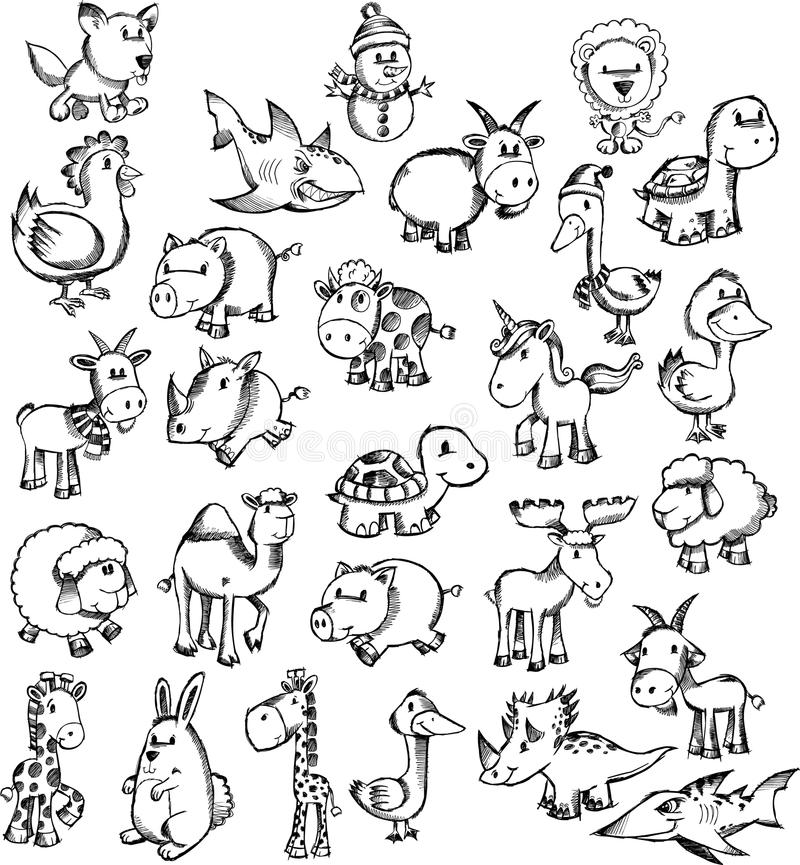 den djura klotterseten skissar super royaltyfri illustrationer