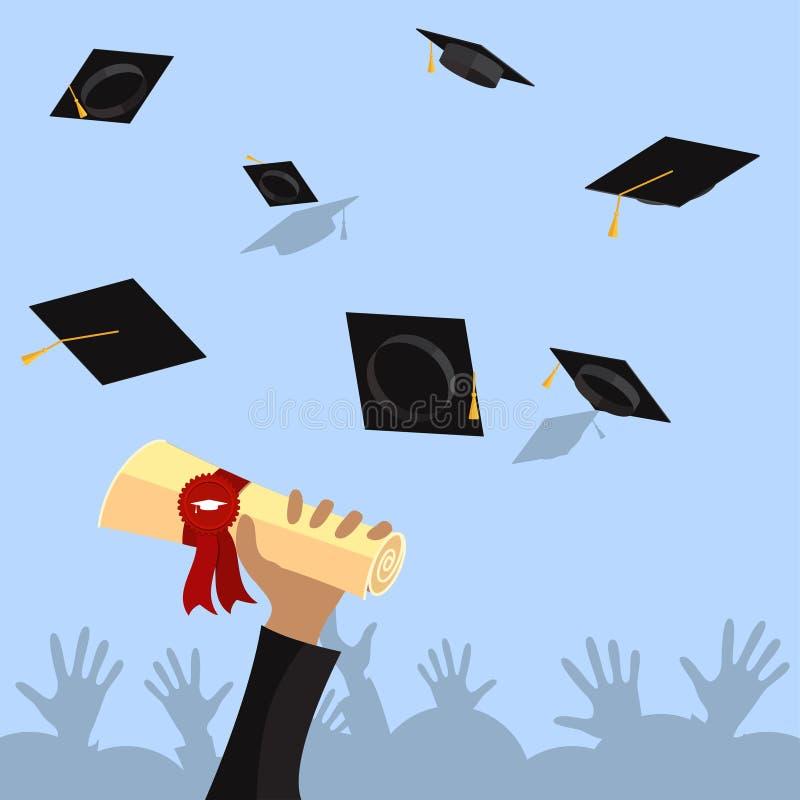 Den doktorand- handen rymmer diplomet med den plana illustrationen för band- och stämpelvektorn vektor illustrationer