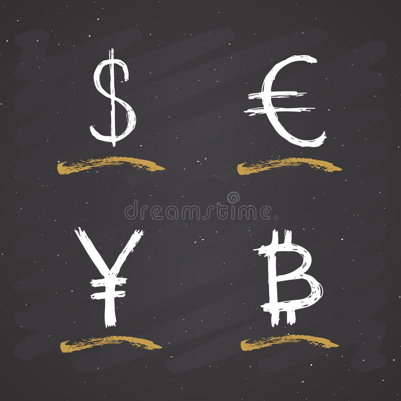 Den dollar-, euro-, yen- och Bitcoin teckensymbolen borstar bokstäver, calligraphic symboler för Grunge, vektorillustration på sv vektor illustrationer
