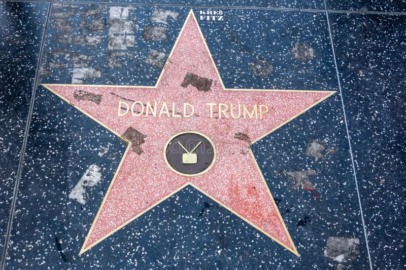 Den Donald Trump stjärnan på Hollywood går av berömmelse i Los Angeles, CA royaltyfria foton