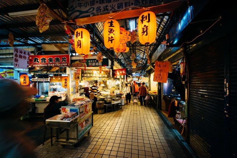 Den Dongsanshui gatamarknaden, i det Wanhua området, Taipei, T arkivbilder