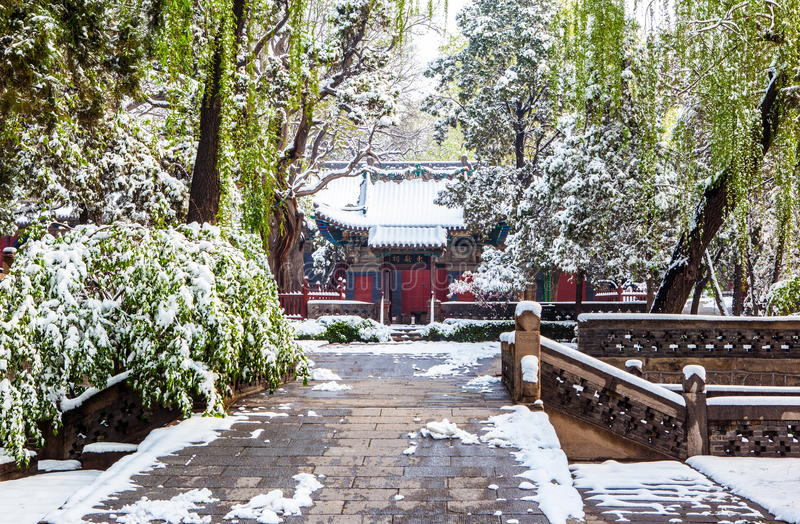 Den Dongyue templet täckas med snö royaltyfria foton
