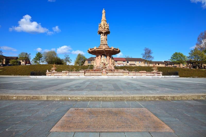 Den Doulton springbrunnen i Glasgow arkivbild