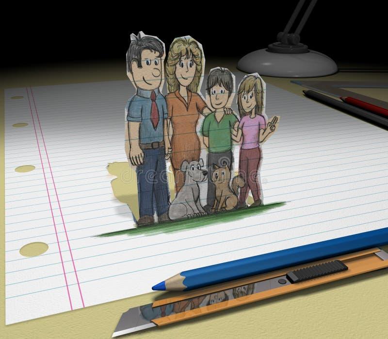 den dröm- familjen skissar ditt stock illustrationer