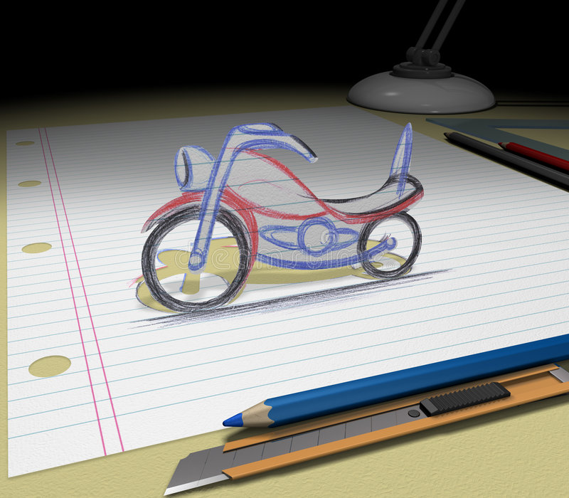 den dröm- motorcykeln skissar ditt vektor illustrationer