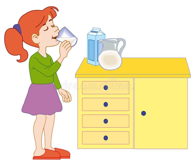 den dricka flickan mjölkar barn stock illustrationer
