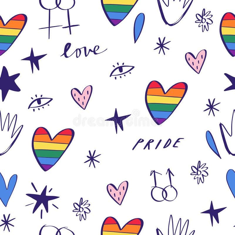 Den drog abstrakta handen klottrar den s?ml?sa modellen Stolthet-, förälskelse- och fredbokstäver, regnbågehjärtor Bögen ståtar t royaltyfri illustrationer