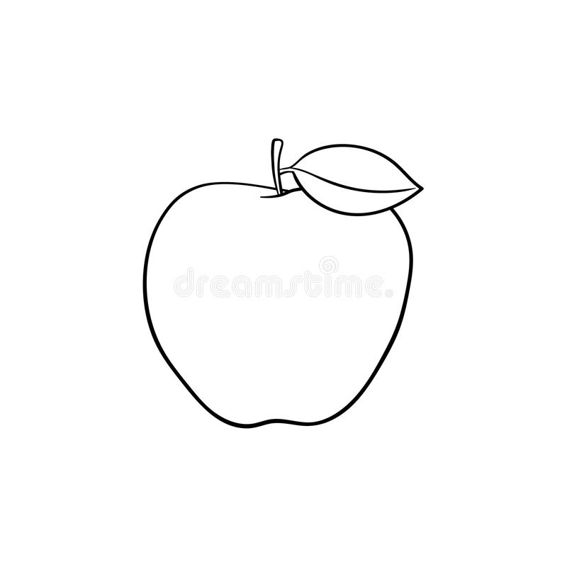 Den drog Apple frukthanden skissar symbolen stock illustrationer