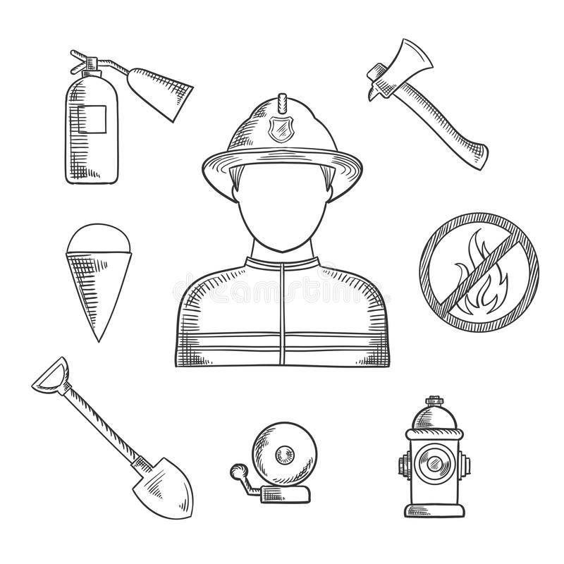 Den drog brandmanyrkehanden skissar symboler stock illustrationer