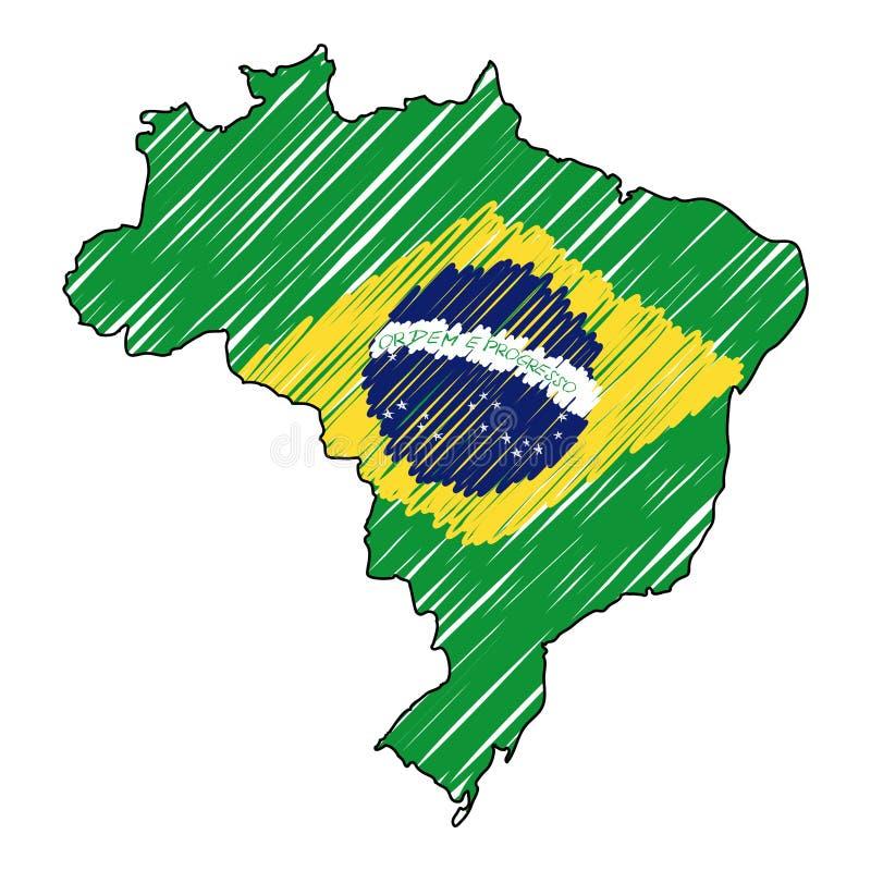 Den drog Brasilien översiktshanden skissar r Lands?versikt f?r stock illustrationer