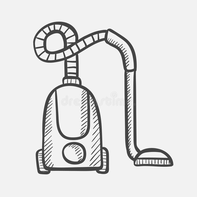 Den drog dammsugarehanden skissar symbolen vektor illustrationer