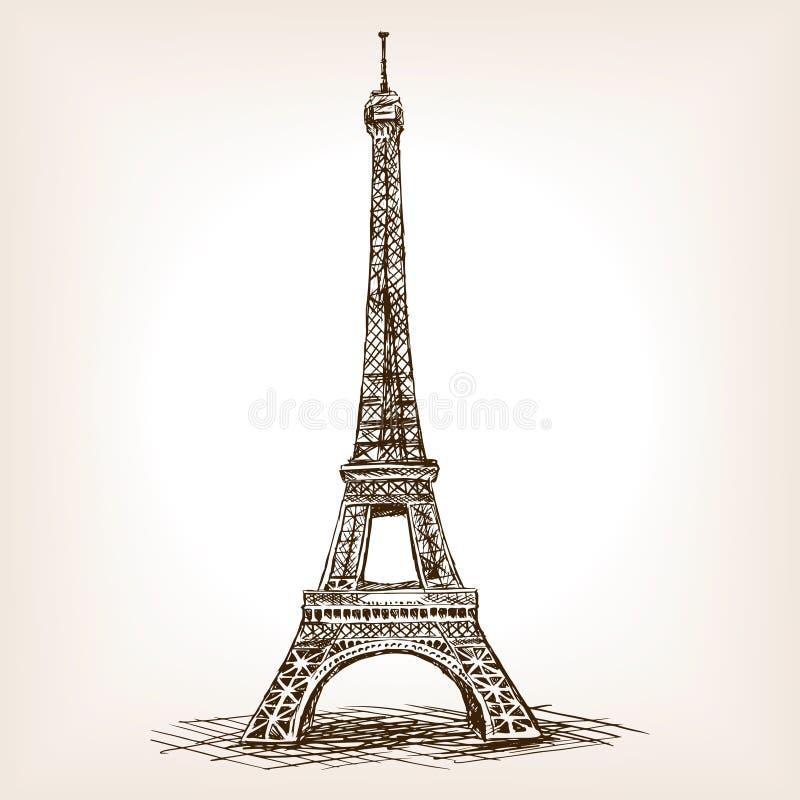 Den drog Eiffeltornhanden skissar stilvektorn royaltyfri illustrationer