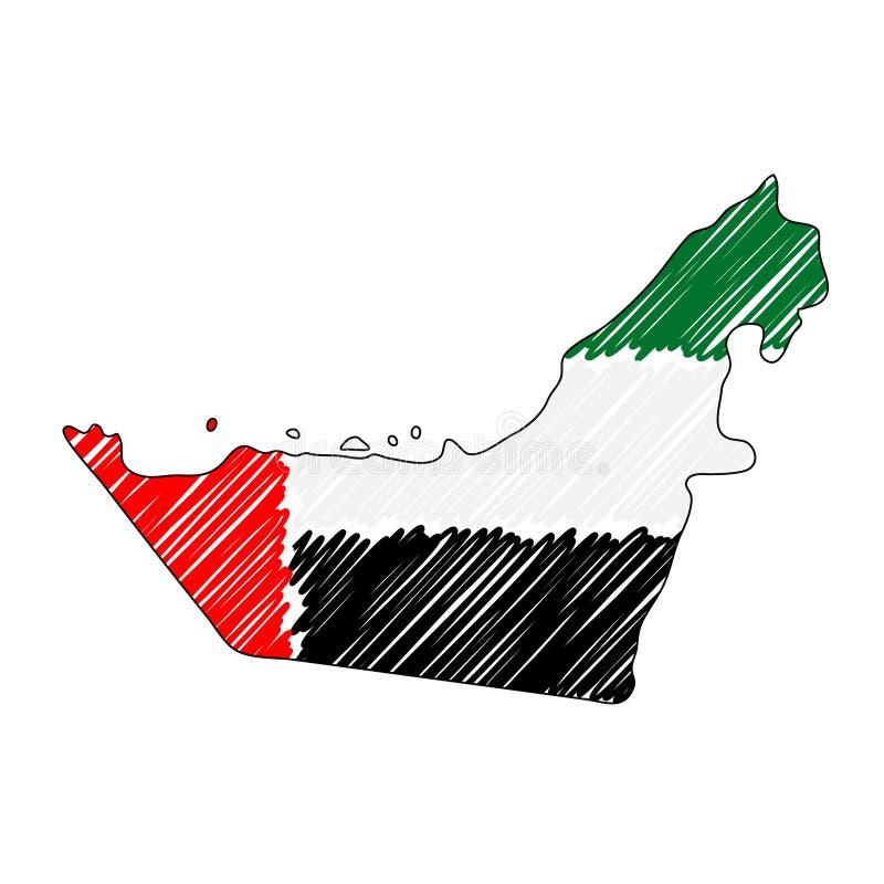 Den drog Förenade Arabemiraten översiktshanden skissar r land royaltyfri illustrationer