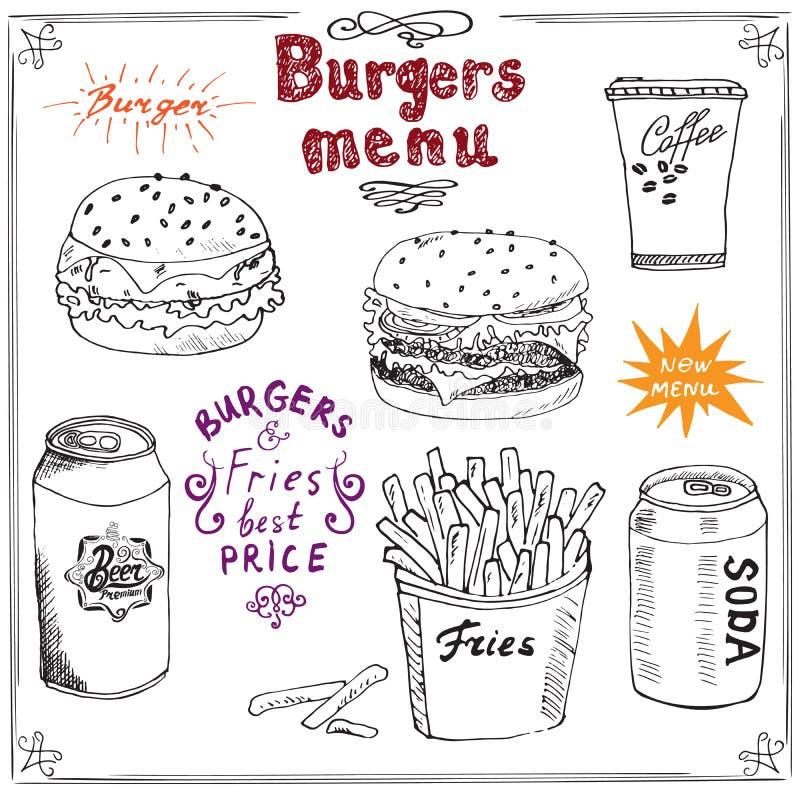 Den drog hamburgaremenyhanden skissar Fastfoodaffischen med hamburgaren, ostburgaren, potatispinnar, sodavattencanen, kaffe rånar royaltyfri illustrationer