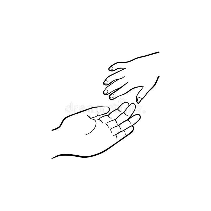 Den drog handen av hjälphanden skissar symbolen stock illustrationer