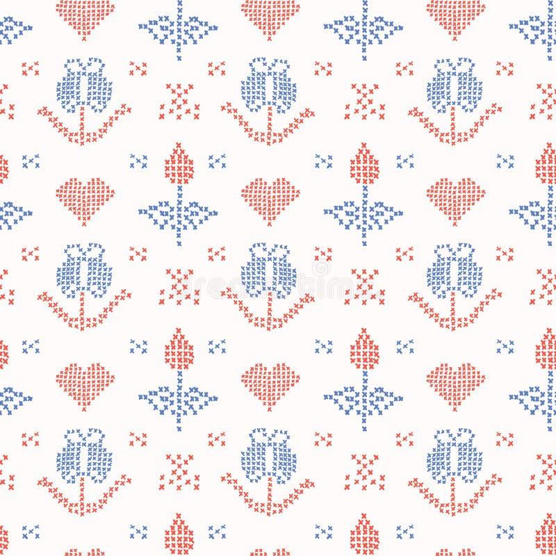 Den drog handen broderar den Tulip Stitches Seamless Vector Pattern korshäftklammeren royaltyfri illustrationer