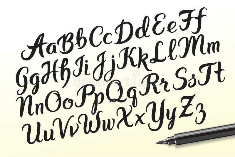 Den drog handen brushpen alfabetbokstäver vektor illustrationer