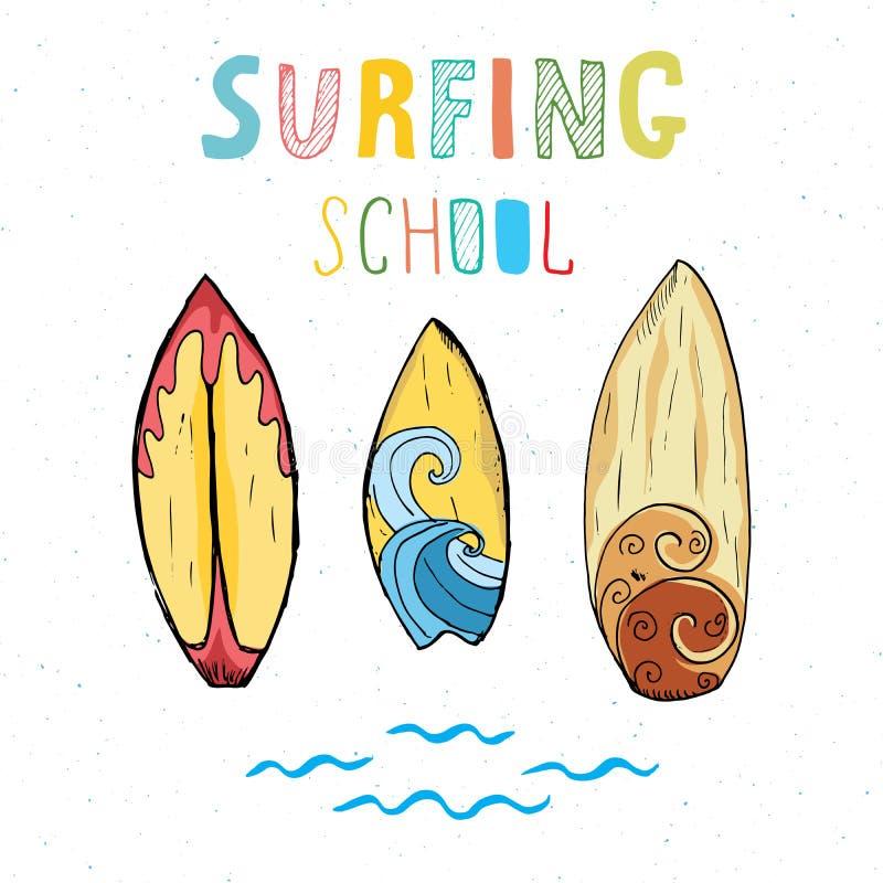 Den drog handen för bränningbräden skissar t-skjortan tryckdesignen som surfar skolatypografi, mallen för emblemet för sommartapp royaltyfri illustrationer