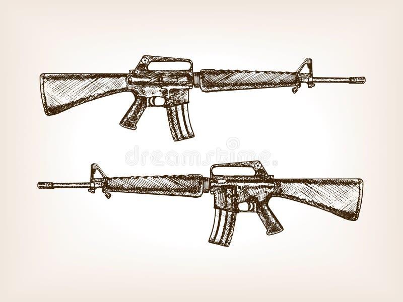 Den drog handen för det automatiska geväret skissar vektorn royaltyfri illustrationer