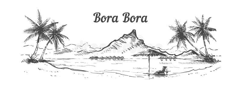 Den drog handen för den Palm BeachBora Bora ön, skissar vektorillustrationen stock illustrationer