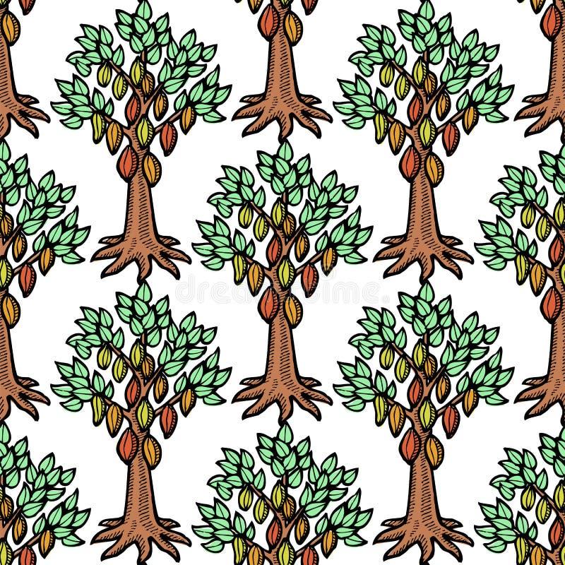 Den drog handen för trädet för vektorkakaobönan skissar illustrationen för choklad för trädet för klottermatkakao den söta Tappni stock illustrationer