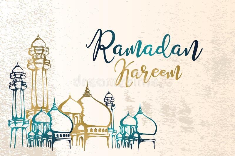 Den drog handen f?r Ramadankareemtappning skissar retro design med arabiskt mellersta ?stligt tema vektor illustrationer
