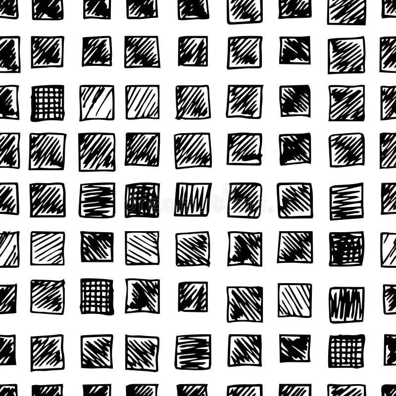 Den drog handen klottrar, den sömlösa modellen av klotterrektanglar vektor illustrationer