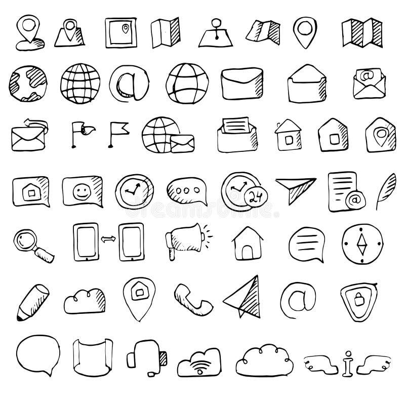 Den drog handen kontaktar symbolsuppsättningen royaltyfri illustrationer