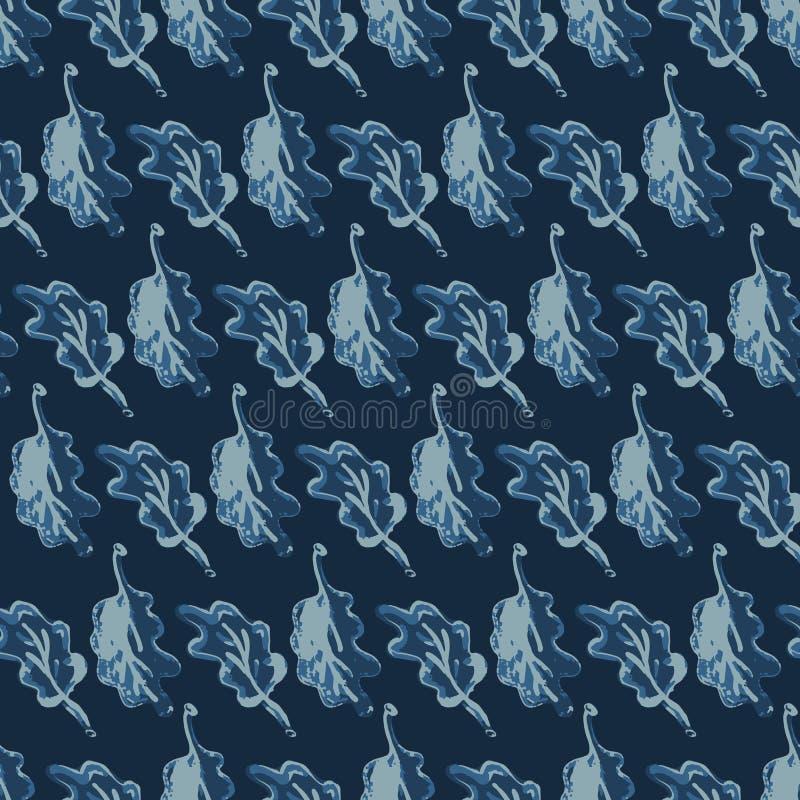 Den drog handen lämnar den indigoblå modellen den sömlösa vektorn Indigoblå blå Batik royaltyfri illustrationer