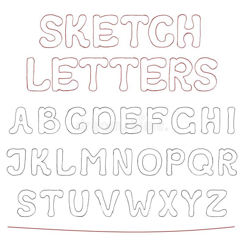 Den drog handen skissar alfabet royaltyfri illustrationer