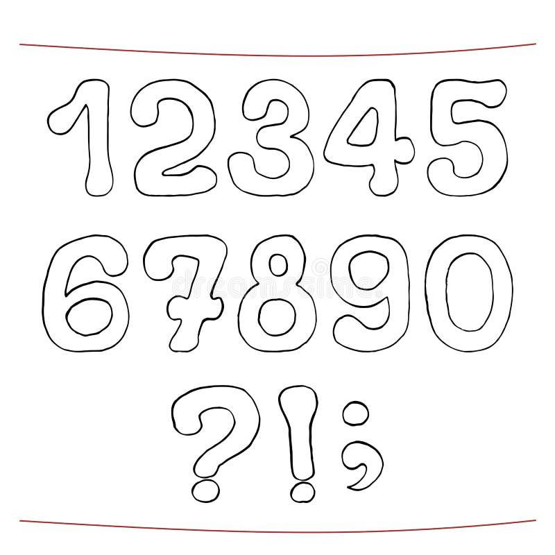 Den drog handen skissar alfabet Tal interpunktion vektor illustrationer