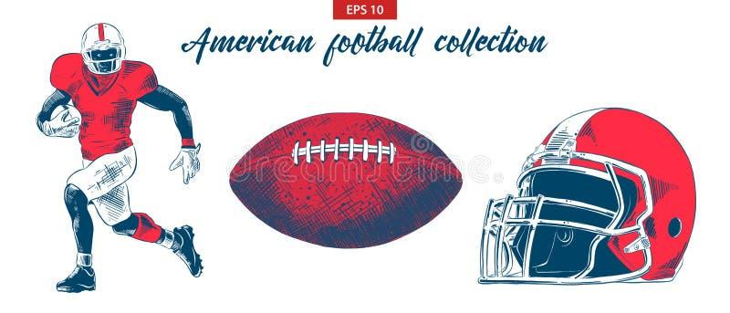 Den drog handen skissar av den amerikanska fotbollsspelare-, boll- och hjälmuppsättningen som isoleras på vit bakgrund Detaljerad royaltyfri illustrationer