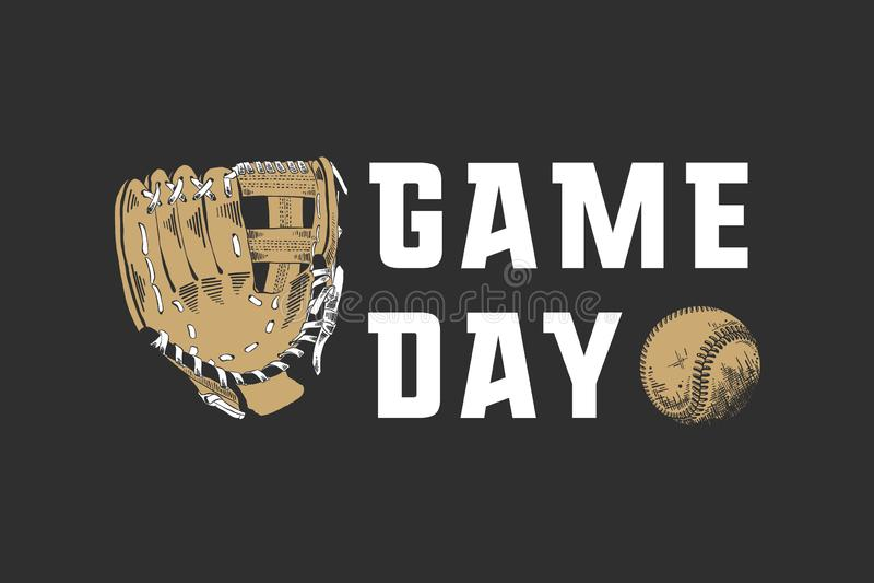 Den drog handen skissar av baseballboll och handske med motivational sporttypografi på mörk bakgrund Modig dag vektor illustrationer