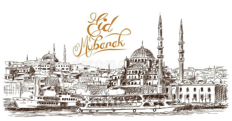 Den drog handen skissar av den berömda blåa moskén för världen med Ramadan Kareem text, Istanbul i vektorillustration royaltyfri illustrationer