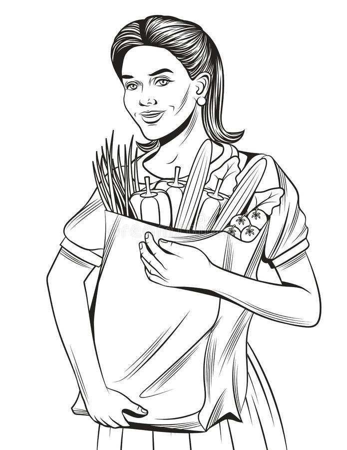 Den drog handen skissar av en lycklig härlig flicka som gör livsmedelsbutikshopping vektor illustrationer