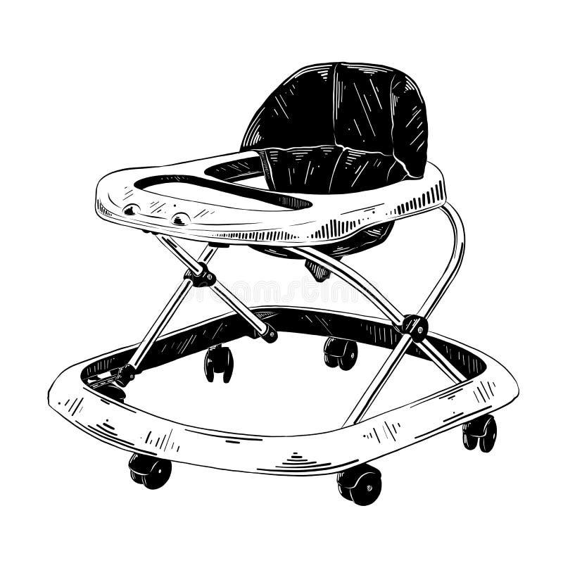 Den drog handen skissar av gåstolen i svart som isoleras på vit bakgrund Detaljerad teckning för tappningetsningstil vektor illustrationer