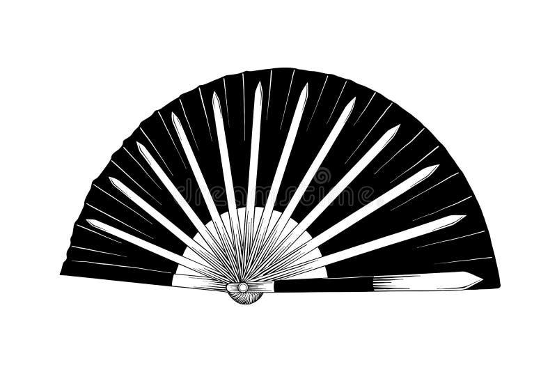 Den drog handen skissar av den japanska slåss fanen som isoleras på vit bakgrund Detaljerad tappningetsningteckning stock illustrationer